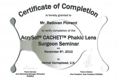 Certifikát Cachet pre primára NeoVízie Bratislava MUDr. Piovarčiho