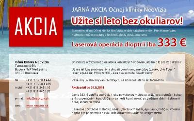 Očná klinika NeoVízia - AKCIA - laser iba 333 €